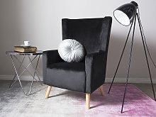 Wingback Chair Black Velvet Upholstery High Back