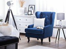 Wingback Chair Blue Velvet Upholstery Black Legs