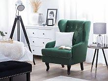Wingback Chair Green Velvet Upholstery Black Legs