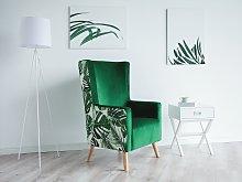 Wingback Chair Pink Velvet Upholstery High Back