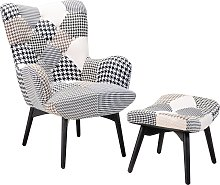 Wingback Chair with Footstool Patchwork Grey VEJLE