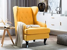 Wingback Chair Yellow Upholstery Black Legs