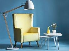 Wingback Chair Yellow Velvet Upholstery High Back