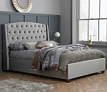 Winged Velvet Bed, Happy Beds Balmoral Grey Fabric