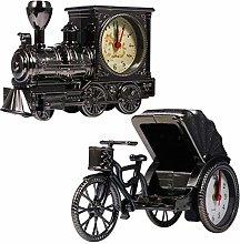 WINOMO Desk Alarm Clock Steam Train and Rickshaw
