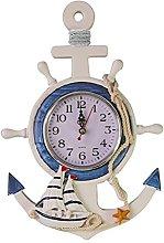 WINOMO Mediterranean Style Anchor Clock Beach Sea