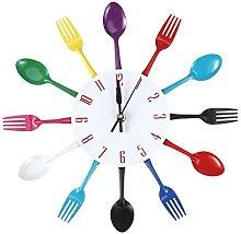 WINOMO Modern Kitchen Wall Clock Cutlery Spoon