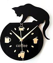 WINOMO Silent Cartoon Wall Clock Cute Climbing Cat