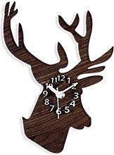 WINOMO Silent Wall Clock Cool Rural Wooden Deer