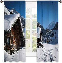 Winter Blackout curtain, Wooden Houses on Austrian