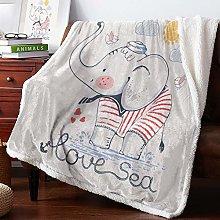 Winter Cashmere Blanket Cartoon Baby Elephant