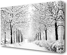 Winter In The Park Black And White Forest Canvas