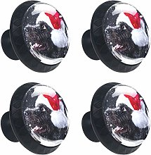 Winter Snow Dog with Christmas Hat 4PCS Round