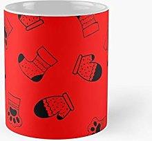 Winter Warmer Pattern Fire Red Classic Mug   Best