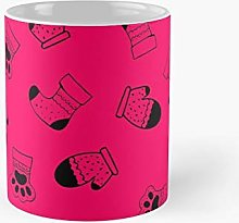 Winter Warmer Pattern Pink Red Classic Mug   Best