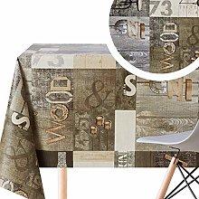 Wipe Clean Tablecloth Grey Dark Brown Industrial