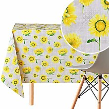 Wipe Clean Tablecloth Grey With With Yellow