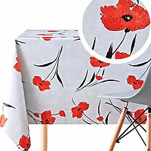 Wipe Clean Tablecloth In Light Grey With Red
