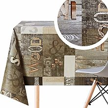 Wipe Clean Tablecloth Rustic Grey Brown Wooden