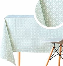 Wipe Clean Tablecloth Turquoise With White Retro