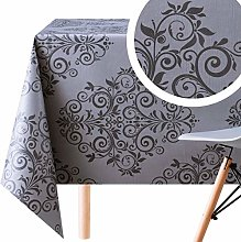 Wipe Clean Tablecloth With Dark Grey Baroque