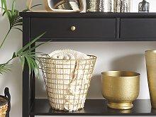Wire Basket Gold Metal Round with Handles Modern