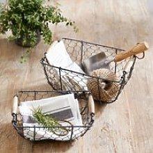 Wire Basket – Set of 2, Grey, One Size