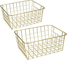 Wire Baskets, Gold 2 Pack Wire Basket, Organizing