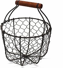 Wire Egg Basket Basket Fruit Basket with Wooden