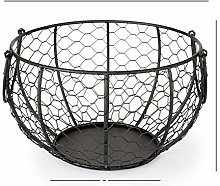 Wire Egg Basket with Handle, Metal Egg Storage