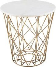 Wire End Table with White Marble Top