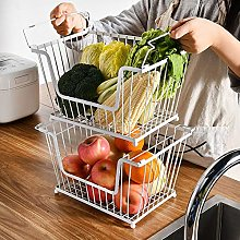 Wire Storage Basket, 2-Tier Stackable Fruit Mesh