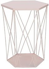Wire Storage Basket Table - Pink