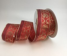 Wired traditional Christmas design red/gold ribbon