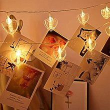 Wisvis 20Leds Photo Clip String Lights, Love Heart