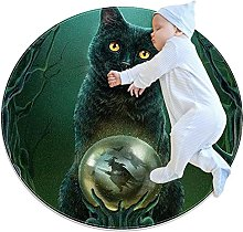 Witches cat, Kids Round Rug Polyester Throw Area