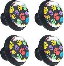 with Colorful Hand Drawn Doodle Paw Prints Round
