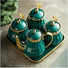 without logo AFTWLKJ Green Seasoning Jar Ceramic
