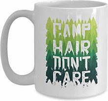 Witty Camping Coffee Mug - Camp Hair Don't