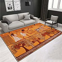 WIVION Area Rug Egyptian Culture Big Carpets for