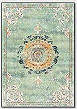 WIVION Vintage Carpet Area Rug, Golden Blue Black