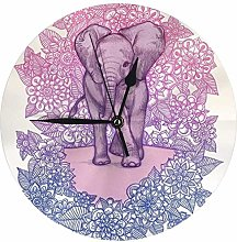 Wjchao Wall Clock Cute Baby Elephant In Pink