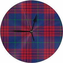 Wjchao Wall Clock Dress Tartan Dark Silent Round