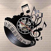 Wjchao Wall Clock Piano Room Music Notes Vinyl