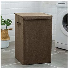 WJCRYPD Cotton Linen Laundry Basket With Lid Large