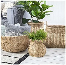 WJCRYPD Woven Basket Natural Style Woven Grocery