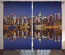 WJDJT Blackout Curtains Thermal Insulated Pencil