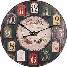 WJHCDDA Wall Clock Silent Quartz Clock Wooden