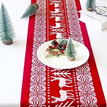 WJIAO Christmas Table Runners Printed Linen Table