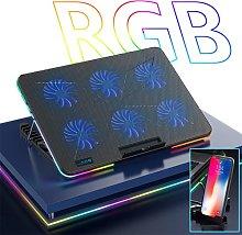 WJJ RGB Gaming Laptop Cooler, Led Display Six Fan
